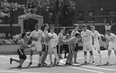 Parker varsity soccer works hard against Latin during homecoming game.