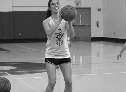 Senior Rebecca Ross works hard during basketball practice.
