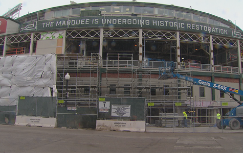 Wrigley Field under Construction in 2016.