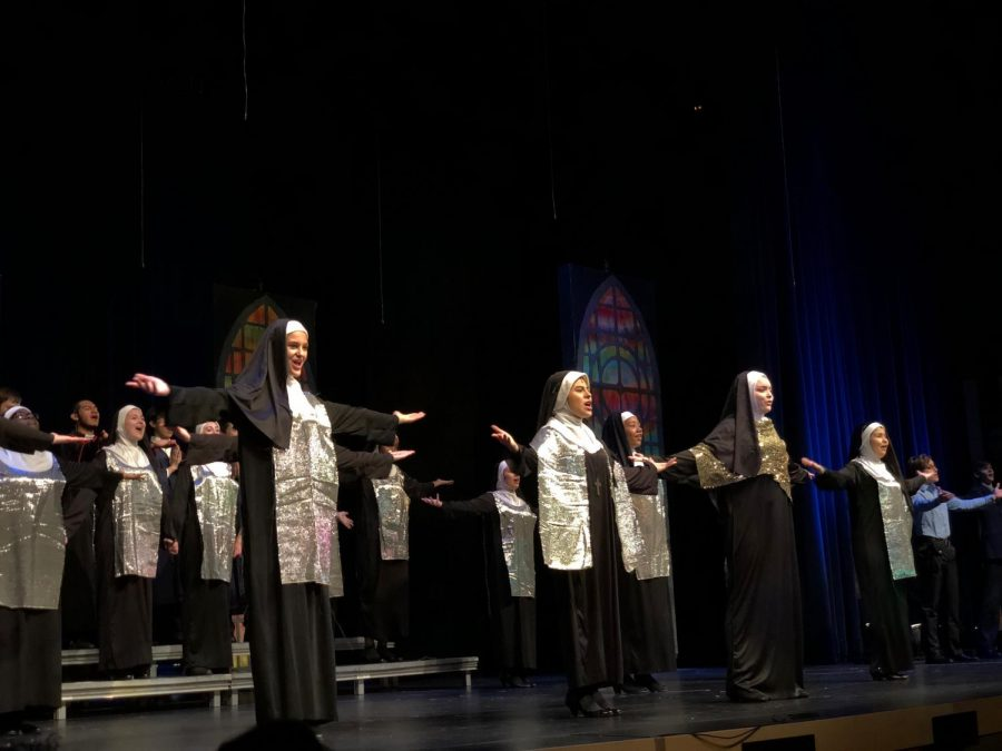 """The Cast of """"Sister Act"""" performs the closing number in the Friday performance."""