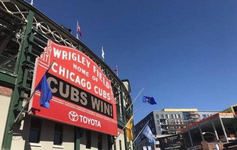 Wrigley's famous marquee displays a game's outcome after the Cubs defeat the Milwaukee Brewers 3-0. Photo by Celia Rattner.