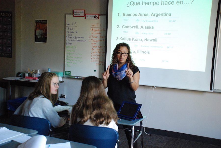 Sra. Villagomez teaching a Spanish II class about describing the weather.