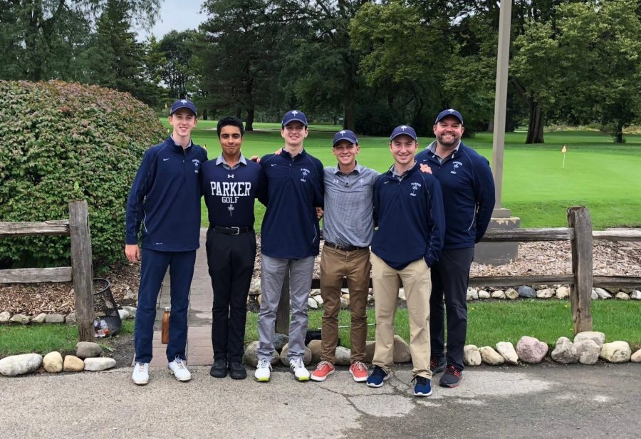 The 2018 Parker High School Golf team with their coach, Tim O'Connor, at Regionals.