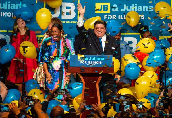 J.B. Pritzker Celebrates his win. Photo Courtesy of the Pritzker Campaign.