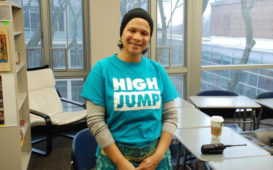 One of the High Jump organizers, Karen Thomas, at a Saturday session at Francis W. Parker.