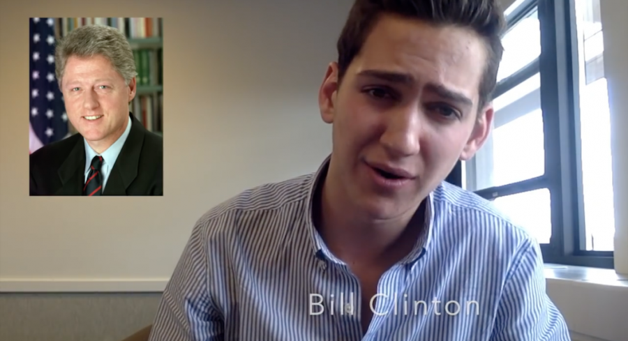 "Friend shows off his Bill Clinton impression as a part of a video in which he urged viewers to vote in the 2016 election by impersonating 49 well-known personalities. Photo from ""Matturday Night Live"" on YouTube."