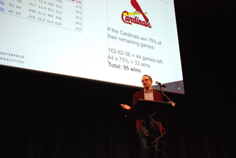 Baseball and casino statistics expert Zachary Levine presenting at the second March Mathness MX.