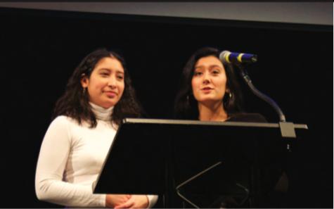 Juniors Gigi Lopez and Anjali Chandel, heads of Students Affirming Gender Equality (SAGE), speak at Gender Week's closing ceremony.