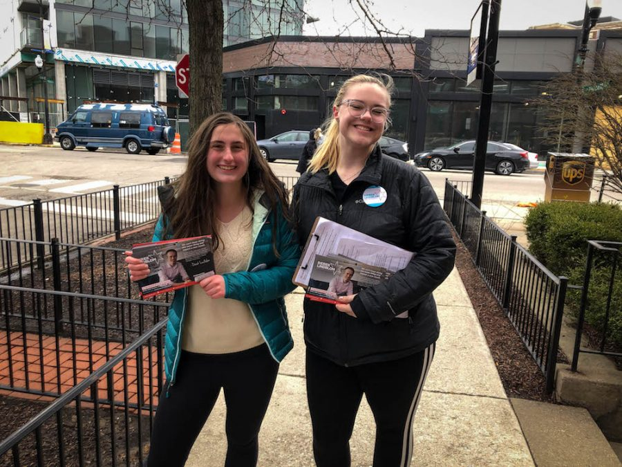 Juniors Molly Taylor and Iz Bruozis campaigning for alderman candidate Derek Lindblom.