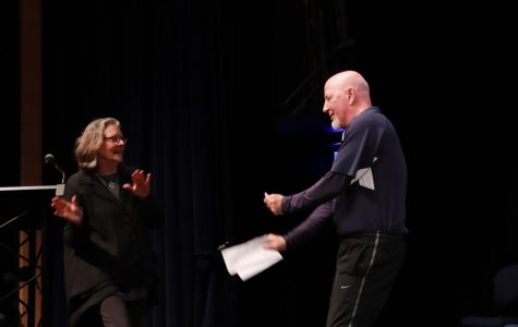 Seebold and McHale dance together on stage at the Retirement Morning Ex.