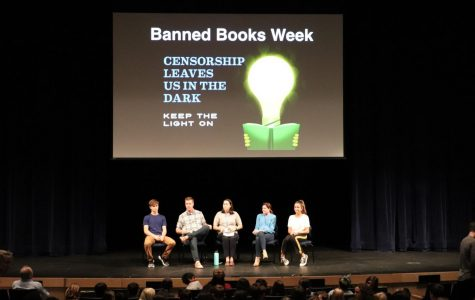 Teachers and students from 5th through 12th grades recently gathered for an informative Morning Ex to formally kick off Banned Books Week. Photo courtesy of the Francis W. Parker Twitter.