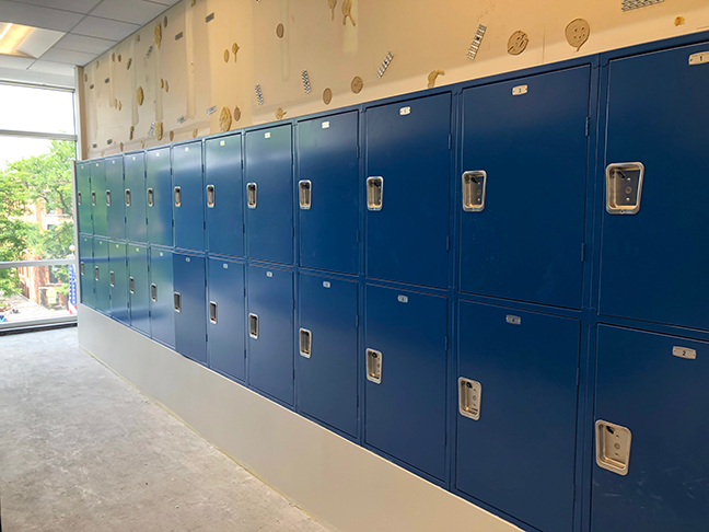 Construction on new Upper School lockers. Photo by Spencer O'Brien.