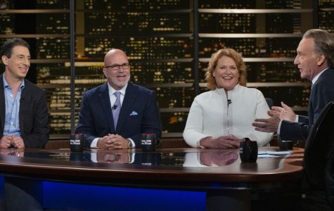 Eric Klinenberg (furthest left) on Real Time with Bill Maher joined by Katie Porter, Heidi Heitkamp, Michael Smerconish and Kevin Williamson on August 24, 2019.