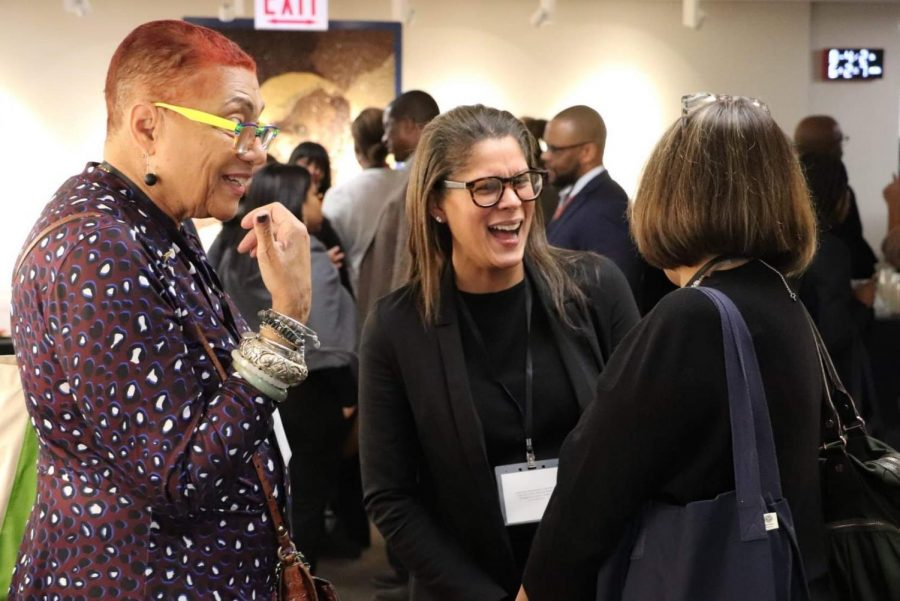 Assistant Principal Ruth Jurgensen speaking with attendees of this year's Administrators of Color in Independent Schools Conference.