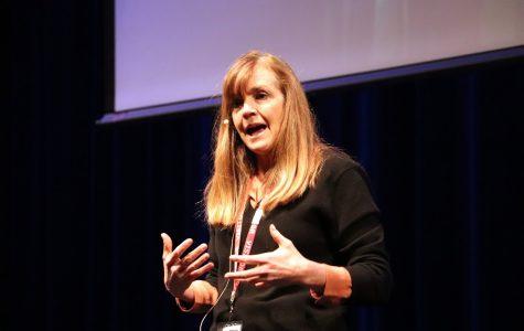 Lynn Lyons speaks to the Parker community.