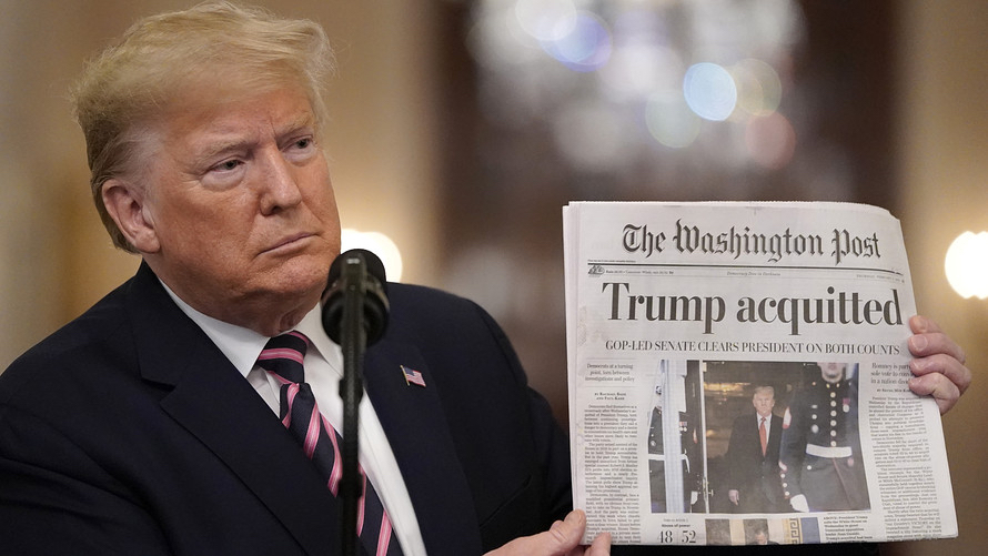 President+Trump+one+day+after+the+U.S.+Senate+acquitted+on+two+articles+of+impeachment.+Photo+courtesy+of+Market+Watch.