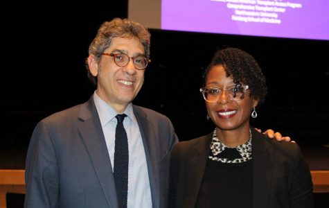 This year's visiting scientist Dinee Simpson poses with Principal Dan Frank. Photo courtesy of Nick Saracino.