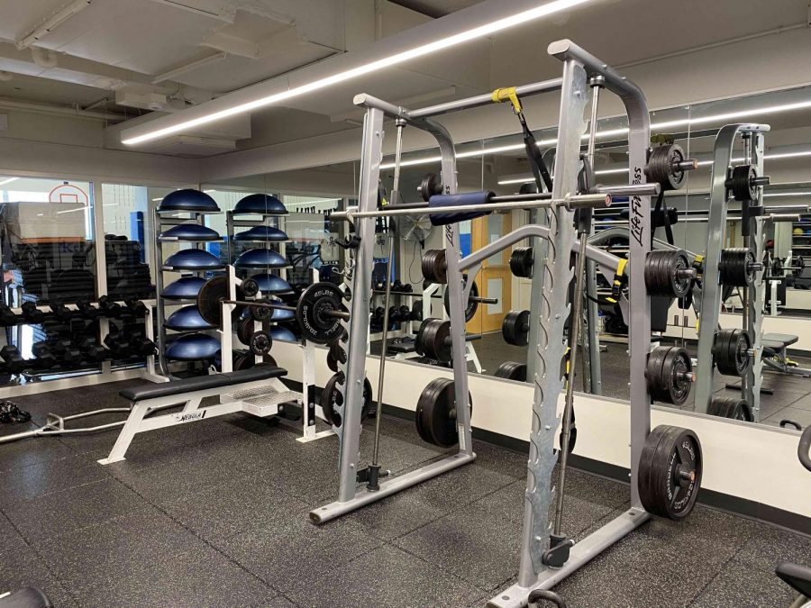 The remodeled weight room.