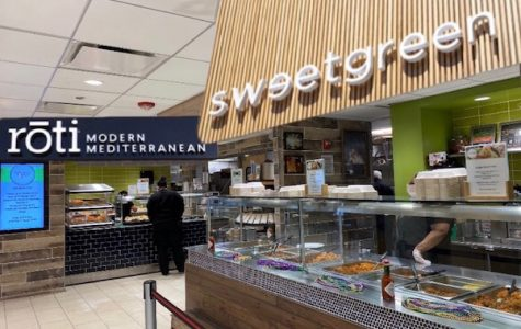 Parker's new and improved cafeteria, complete with two of the most popular restaurants in the upper school, Roti and Sweetgreen.