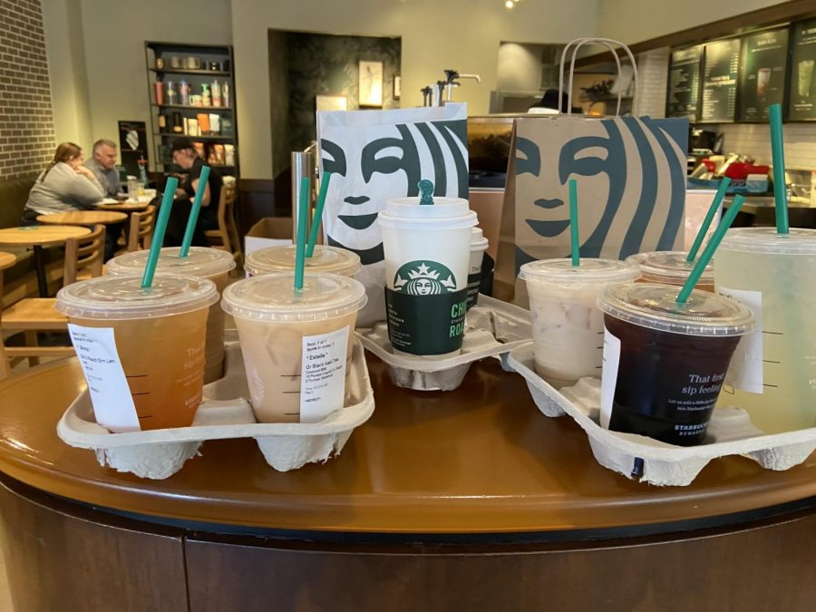 The Starbucks drinks that twelve upper school students mobile ordered to have picked up and brought back to school for them by two generous students.
