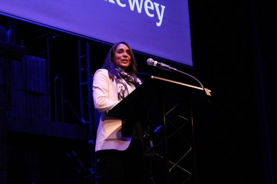 Visiting poet Natasha Trethewey speaks to the Parker community at Morning Ex.