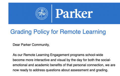 An image of the email sent out to the Parker community detailing the new grading policy.