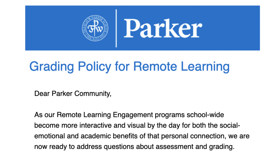 An+image+of+the+email+sent+out+to+the+Parker+community+detailing+the+new+grading+policy.