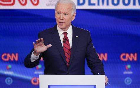 Former Vice President Joe Biden speaks at a CNN debate. Photo courtesy of the Associated Press.
