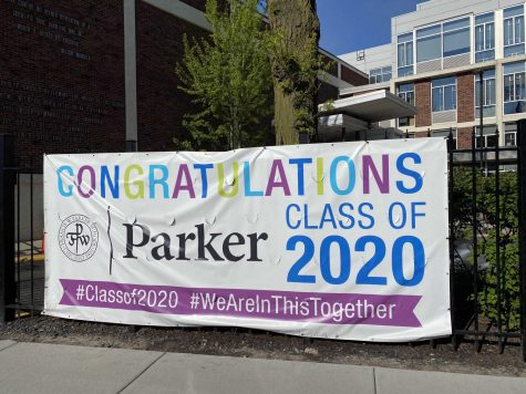 This banner hangs on Clark Street in front of Circle Drive as part of Parker's efforts to honor and celebrate the senior class during the pandemic.