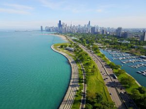 The 17 mile long Chicago Lakefront Trail. Photo courtesy of the Chicago Architecture Center.