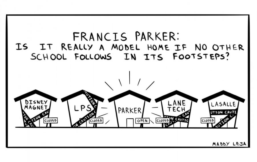 %22Francis+Parker%3A+Is+it+really+a+Model+Home+if+no+other+school+follows+in+its+footsteps%3F%22+Comic+by+Maddy+Leja.