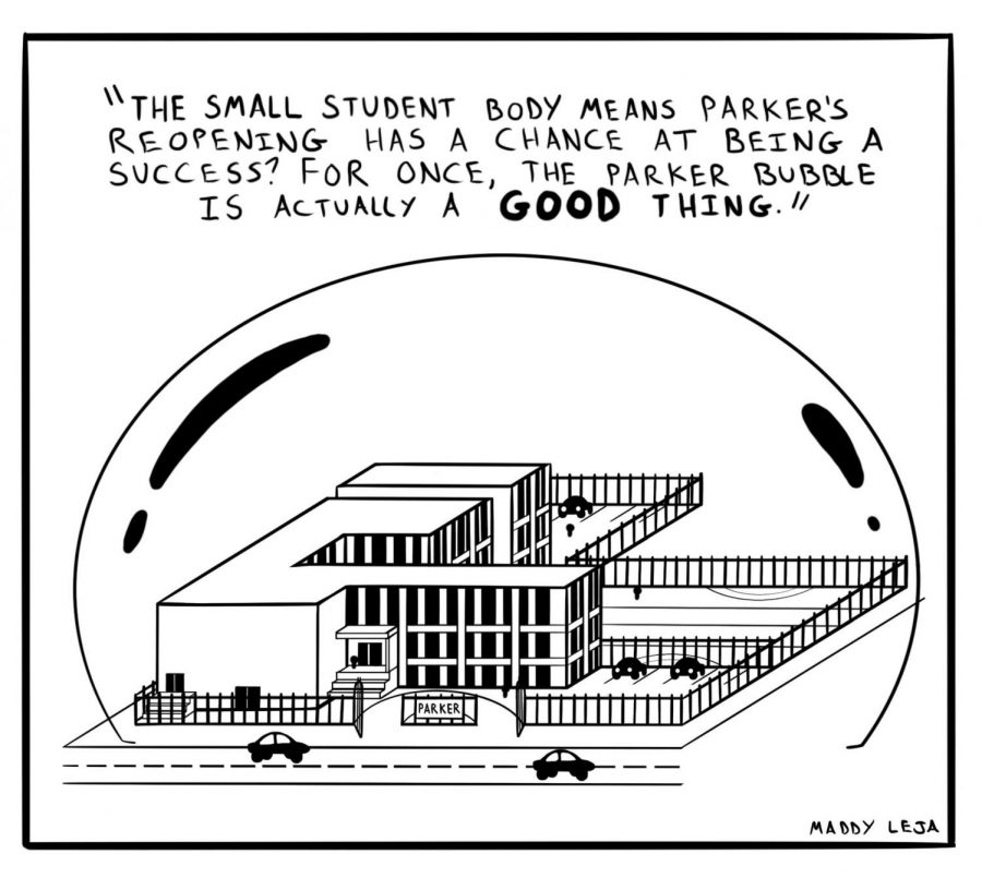 %22The+small+student+body+means+Parker%27s+reopening+has+a+chance+at+being+a+success%3F+For+once%2C+the+Parker+bubble+is+actually+a+GOOD+thing.%22+Comic+by+Maddy+Leja.
