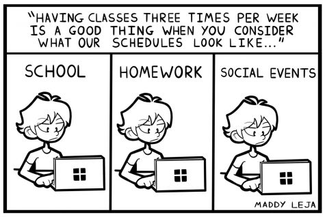 """""""Lessons for Remote Learning."""" Comic by cartoonist Maddy Leja."""