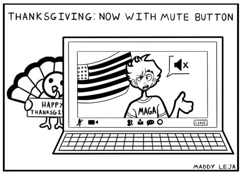 """Thanksgiving: Now With Mute Button."" Comic by Maddy Leja."