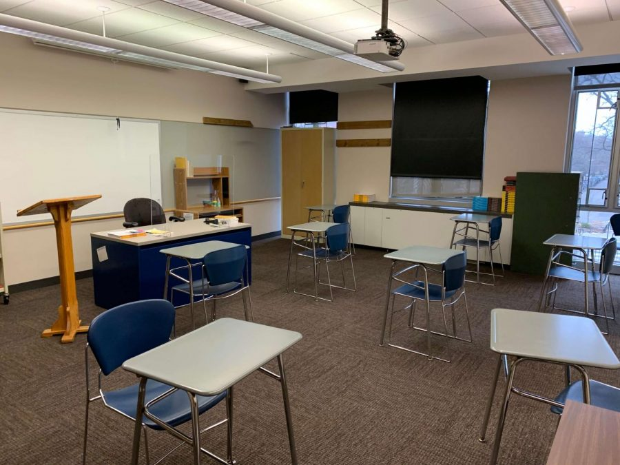 A classroom set up for an in-person day of learning. Photo by Kate Tabor.