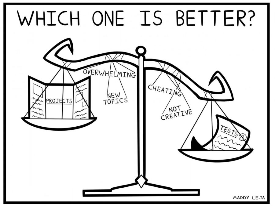 Which one is better? the scales of finals. Cartoon by cartoonist Maddy Leja.