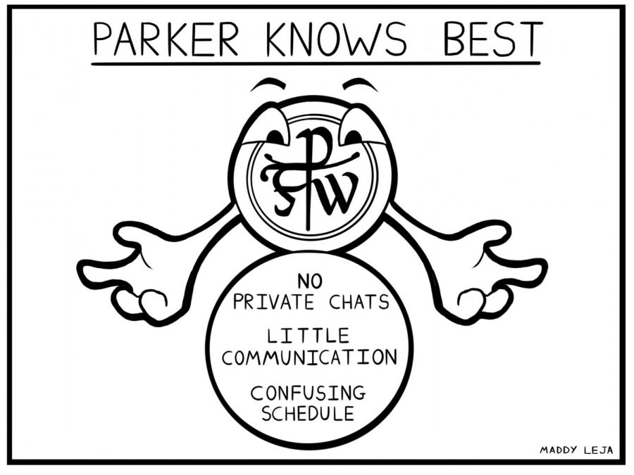 %22Parker+Knows+Best+--+No+Private+Chats%2C+Little+Communication%2C+Confusing+Schedule.%22+Cartoon+by+cartoonist+Maddy+Leja.