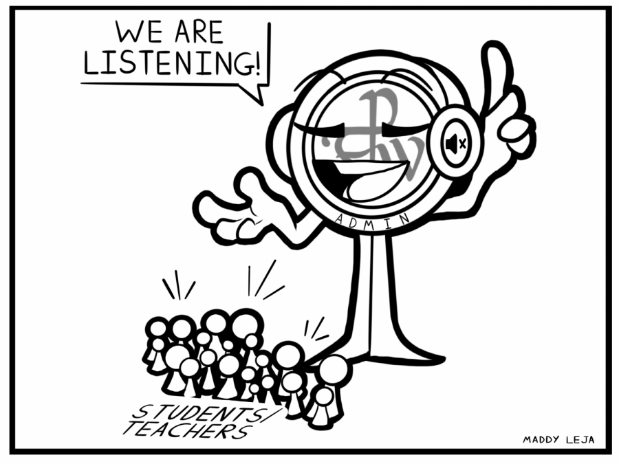 """""""We are listening!"""" says the Parker logo with headphones on. Cartoon by cartoonist Maddy Leja."""