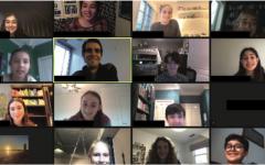 Middle School Model UN meeting over Zoom.