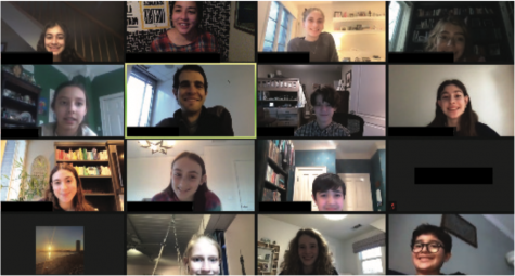Middle School Model UN meeting over Zoom.