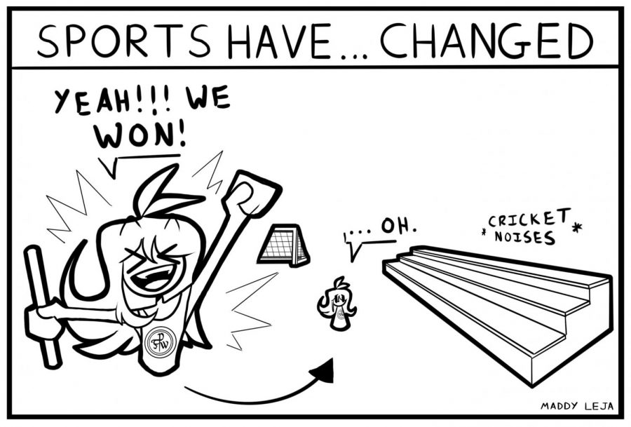 """""""Sports have... changed"""" """"Yeah!!! We won!"""" Comic by cartoonist Maddy Leja."""
